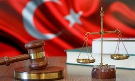 Justice pour des lois de la Turquie dans la cour turque photos stock