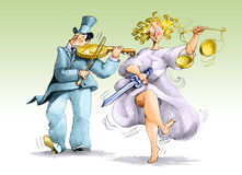 Justice. A rich man plays a coin like a violin and a justice upset dance Stock Photo