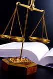 Justice scale. Scale in front of books Royalty Free Stock Images