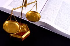 Justice scale. Scale in front of books Stock Images
