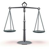 Justice scale balance. Justice concept with a metal scale in balance on both sides, on white background Stock Photo