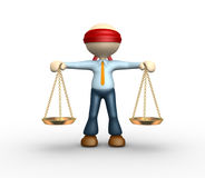 Justice scale. 3d people - man, person blindfolded with a justice scale Stock Image