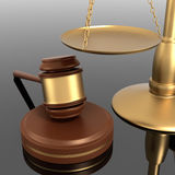 Justice Scale et Gavel Photographie stock