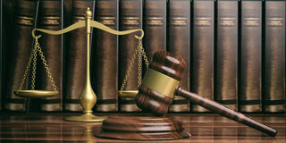 Justice scale, gavel and law books. 3d illustration Stock Photography