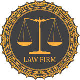 Justice scale icon with caption LAW FIRM Stock Images