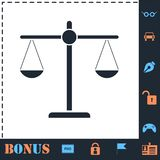 Justice scale icon flat stock illustration