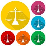 Justice Scale icons set with long shadow Royalty Free Stock Photos