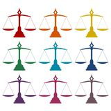 Justice Scale icons set Royalty Free Stock Image