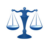 Justice scales. Blue justice scales on the white background Stock Photos
