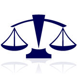 Justice scales. Vector illustration of justice scales -  blue icon Stock Photos