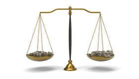 Justice Scales on Balance Money pile And Concept Art isolated on white background Royalty Free Illustration
