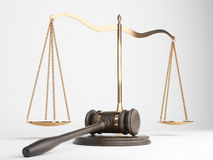Justice scales gavel. Golden justice scales and hardwood gavel on light background. 3D Rendering Stock Photos