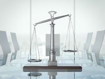 Justice scales on the glas table. 3d rendering. Justice scales on the glas table in modern interior. 3d rendering Stock Photography