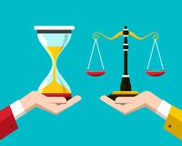 Justice Scales and Hourglass in Human Hands. Vector Crime Punishment Symbol Stock Image