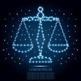 Justice scales, Libra, polygon blue stars 4. Justice scales or Zodiac sign of Libra style design. Polygonal low poly  illustration with triangles, line Royalty Free Stock Photo