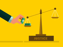 Justice scales with Money. Stock Images