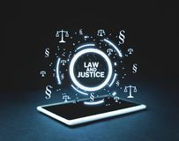 Justice Scales and Paragraph symbols on tablet. Law and Justice. Concept Royalty Free Stock Image