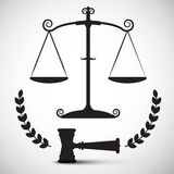 Justice Scales Symbol. Vector Law Hammer Stock Photo