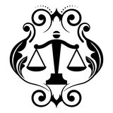 Justice scales. Vector floral icon with justice scales Stock Photos