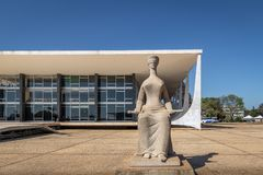 The Justice Sculpture in front of Brazil Supreme Court - Supremo Tribunal Federal - STF - Brasilia, Distrito Federal, Brazil. Brasilia, Brasil - Aug 26, 2018 royalty free stock photo