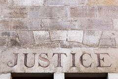 Justice sign on a wall. In France Royalty Free Stock Photos