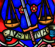 Justice - Stained Glass Stock Photography