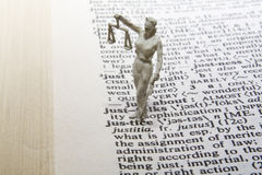 Justice Statue with Definition Royalty Free Stock Image