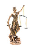 Justice statue isolated on white background royalty free stock image