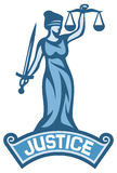 Justice statue label. Scales of justice symbol, lady justice - a goddess of justice Stock Photos