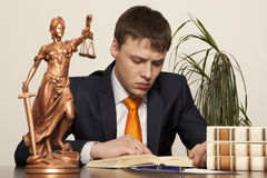 Justice statue and lawyer Royalty Free Stock Photography