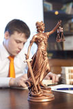 Justice statue and lawyer Royalty Free Stock Photo