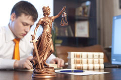 Justice statue and lawyer Stock Images