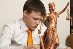 Justice statue and lawyer Royalty Free Stock Images