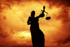 Justice Statue. Silhouettes of justice ancient lady Royalty Free Stock Photos