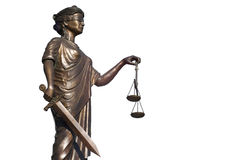 Justice statue on white background Stock Image