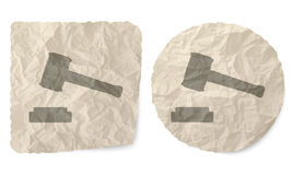 Justice symbol. Crumpled slip of paper and a justice symbol Stock Photo