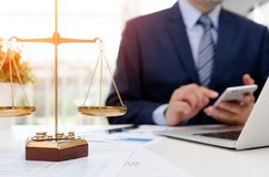 Justice symbol weigh scales on table. Justice symbol weight scales on table. Attorney working in office. Law attorney court judge justice legal legislation royalty free stock photos