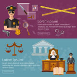 Justice system banner crime and punishment stock photo