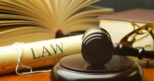 Justice in trial tribunal to seek truth verdict in court legal law system stock video footage