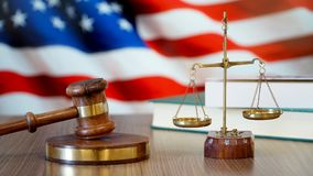 Justice for United States Laws in American Court. USA Flag stock photography