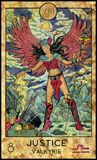Justice. Valkyrie. Fantasy Creatures Tarot full deck. Major arcana. Hand drawn graphic illustration, engraved colorful painting with occult symbols royalty free illustration
