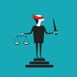Justice vector concept in flat cartoon style Royalty Free Stock Images