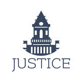 Justice vector icon with castle or court building. Juridical or law icon with old justice court town hall or castle for advocacy, legal center or lawyer or Stock Image