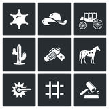 Justice in the wild west icons set. Vector Illustration. Royalty Free Stock Image