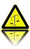 Justice zone warning. Trafic warning sign with a justice symbol on it Royalty Free Stock Photography