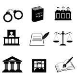 Justicia e iconos legales Imágenes de archivo libres de regalías