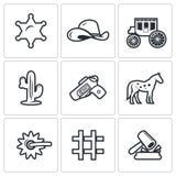 Justicia en los iconos del oeste salvajes fijados Ilustración del vector stock de ilustración