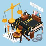 Justicia Isometric Composition de la ley libre illustration