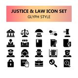 Justicia, ley y sistema perfecto de los iconos del pixel legal stock de ilustración