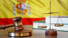 Justicia para las leyes de España en corte española imagen de archivo
